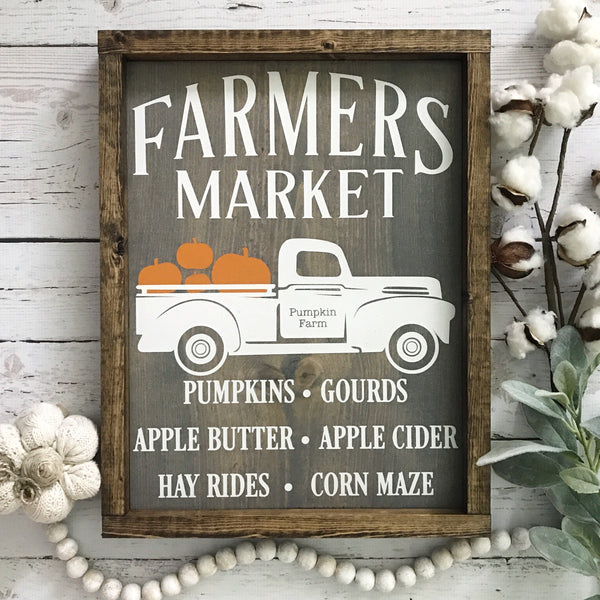 "Fall Farmer's Market Vintage Truck Wood Sign- 13x17.25"" Gray/Neutral - CoastalCraftyMama"