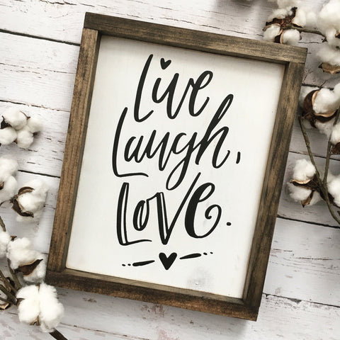 Live Laugh Love Framed Wood Sign - CoastalCraftyMama