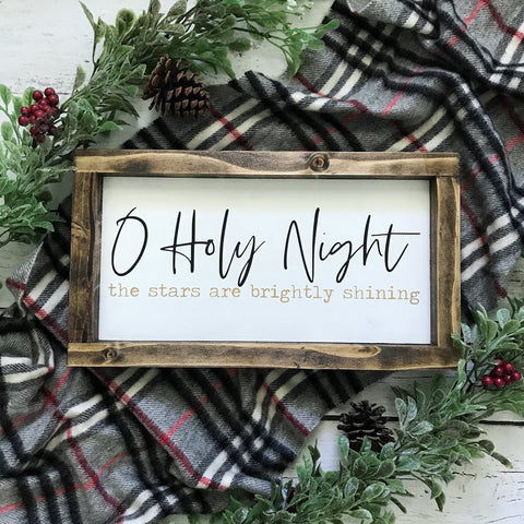 O Holy Night Christmas Mini Framed Wood Sign 12.5x7""