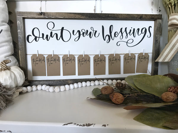 "Count Your Blessings Thanksgiving Framed Sign 11x22"" White - CoastalCraftyMama"