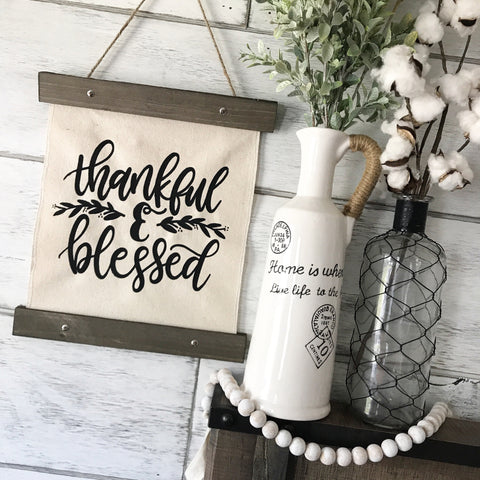 "Thankful & Blessed Canvas Banner- 12x14"" - CoastalCraftyMama"