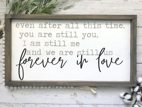 "Forever in Love Framed Wood Sign 13x24"" White"