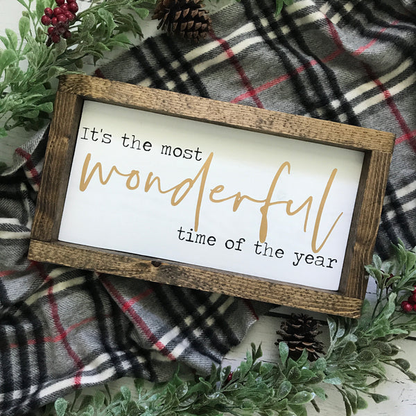 It's the Most Wonderful Time Christmas Mini Framed Wood Sign 12.5x7""