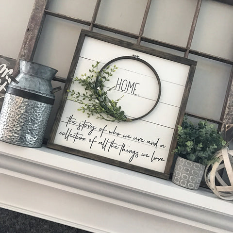 Framed Shiplap Home Wreath Sign- 19x19""