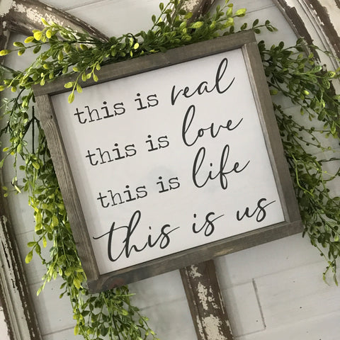 "This is Us Wood Sign 13x13"" White/Gray Frame"