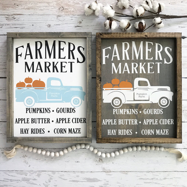 "Fall Farmer's Market Vintage Truck Wood Sign- 13x17.25"" Gray/Neutral"