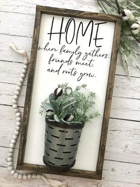 "Home Where Family Gathers Galvanized Vase Sign- 13x24"" - CoastalCraftyMama"