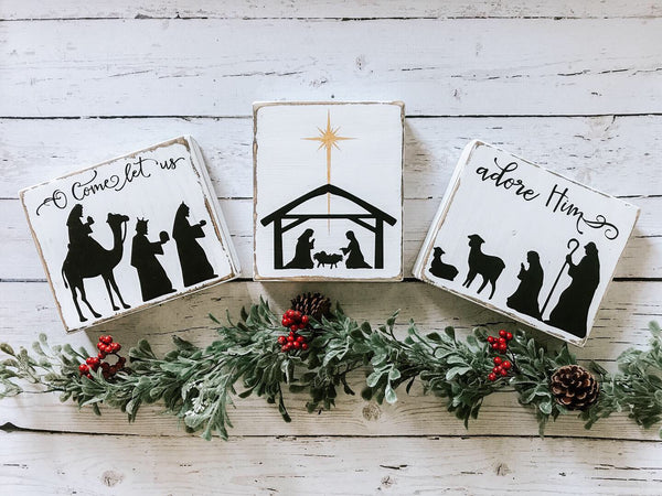 Nativity Mini Sign Trio- Distressed White