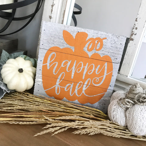 Happy Fall Pumpkin Reclaimed Wood Mini Sign 6x6""