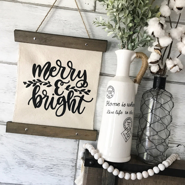 "Merry & Bright Canvas Banner- 12x14"" - CoastalCraftyMama"