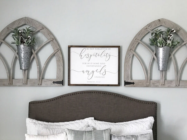 "Be Not Forgetful of Hospitality Hebrews 13:2 Sign 27.5x20.5"" White"