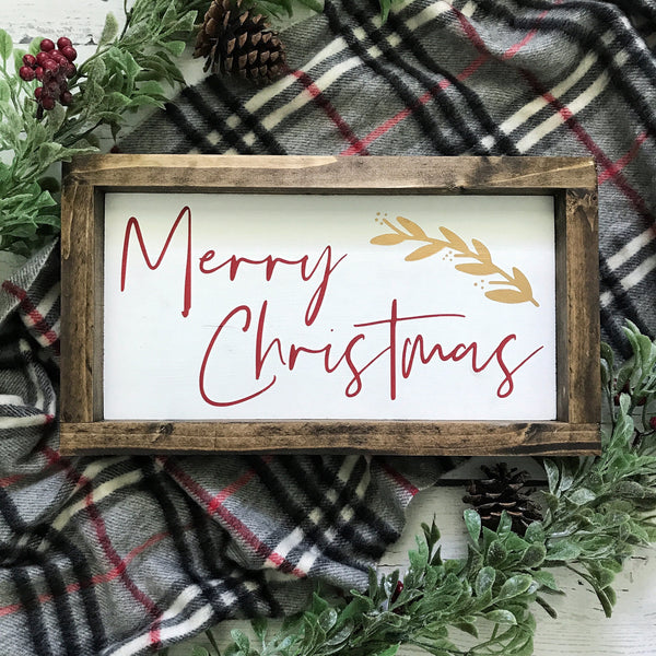 Merry Christmas Mini Framed Wood Sign 12.5x7""