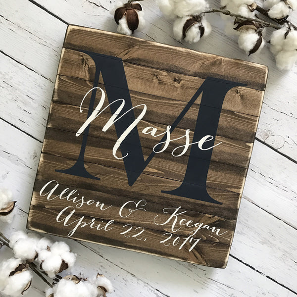 "Personalized Family Name Sign 12x12"" - CoastalCraftyMama"