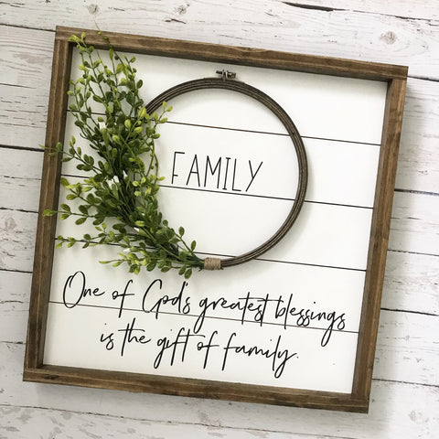 "Framed Shiplap Family God's Greatest Blessing Wreath Sign- 19x19"" - CoastalCraftyMama"