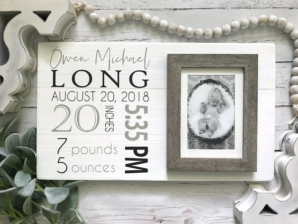 Shiplap Birth Stats Sign with Frame- 18x10""