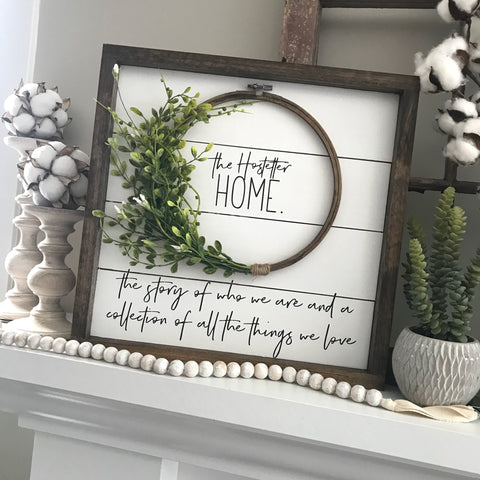 Personalized Shiplap Wreath Sign- 16x16""
