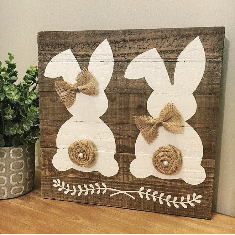Rustic Dual Easter Bunny Sign Natural - CoastalCraftyMama