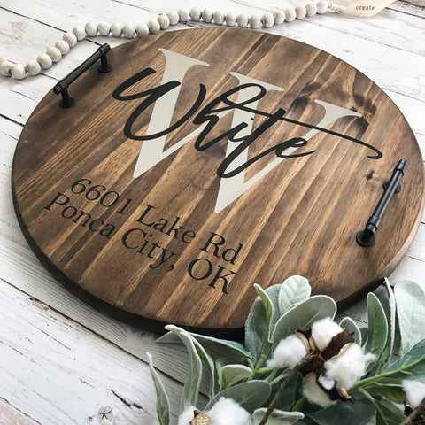 Personalized Wood Serving Tray— Realtor Closing Gift Idea