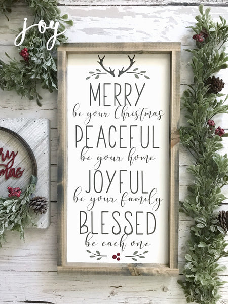 "Merry be your Christmas Wood Sign 11x21"" White - CoastalCraftyMama"