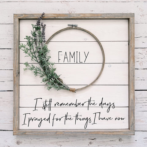 Framed Shiplap Family Wreath Sign (Lavender wreath, warm gray frame)- 19x19""