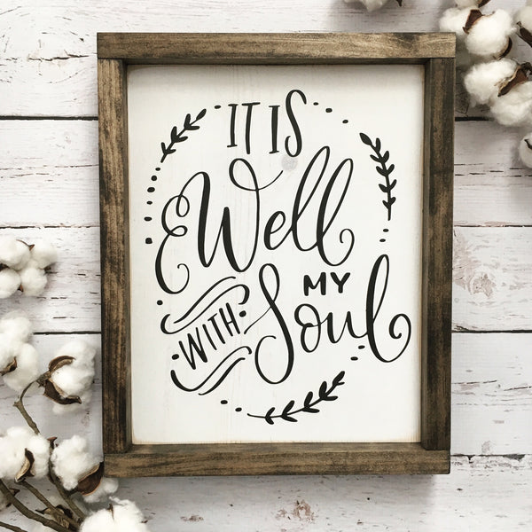 It is Well with my Soul Framed Wood Sign - CoastalCraftyMama