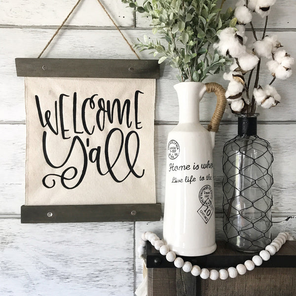 Welcome Y'all Canvas Banner- 12x14""