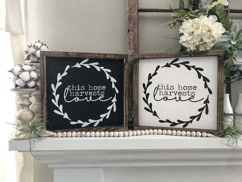 This Home Harvests Love Framed Wood Sign 13x13""