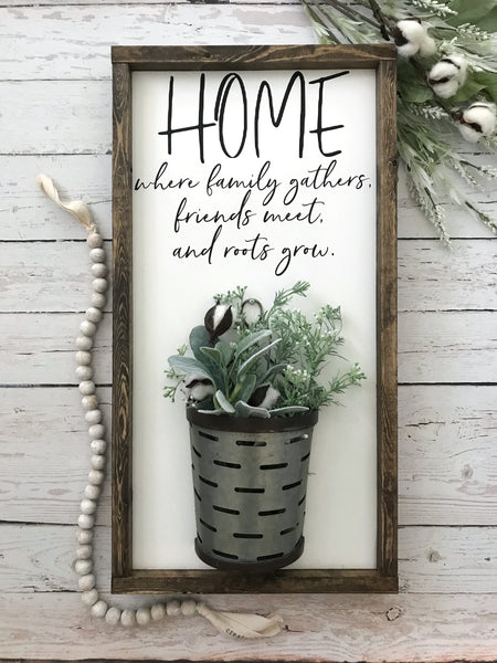 Home Where Family Gathers Galvanized Vase Sign- 13x24""