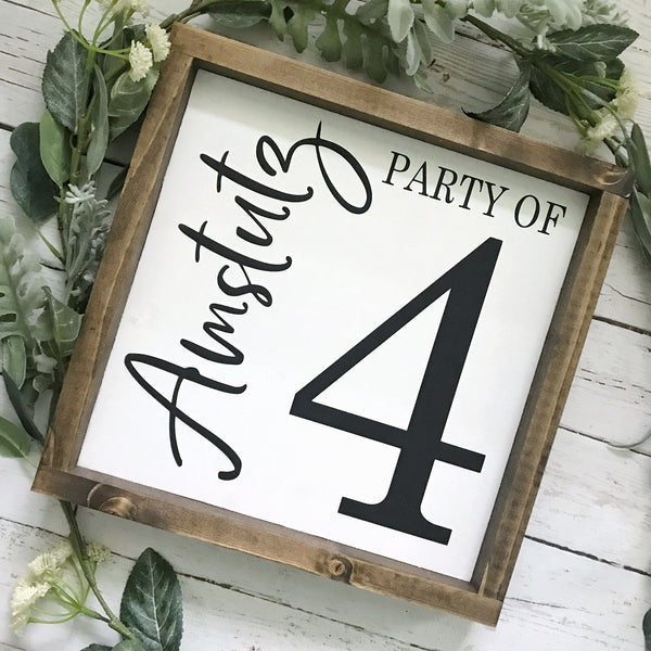 Party of Family Number Sign- 11x11""