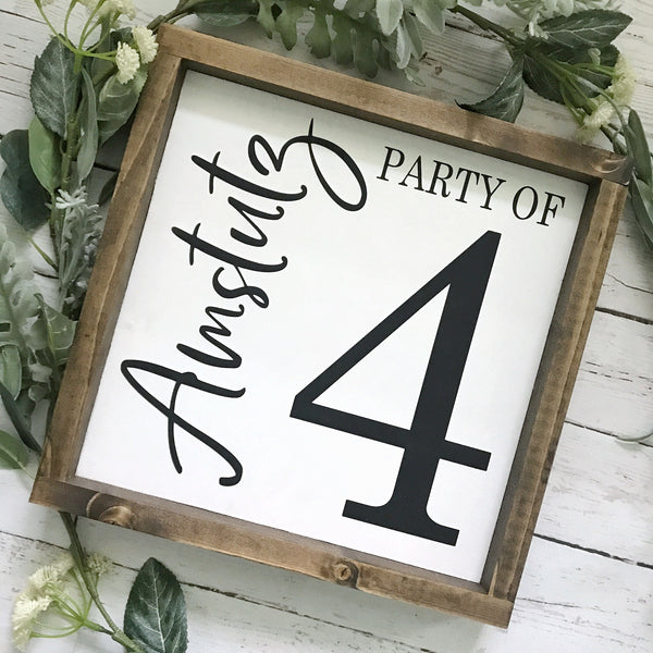 Party of Family Number Sign- 13x13""