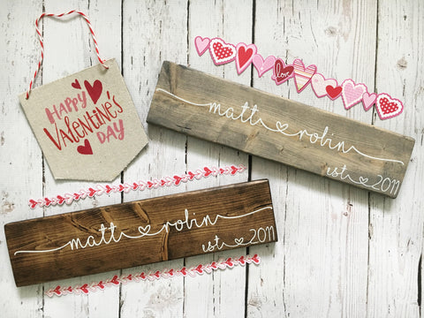 Personalized name sign- Valentine's Day gift - CoastalCraftyMama