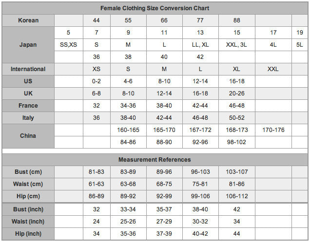 Chinese Clothing Size Conversion Chart Frodofullring