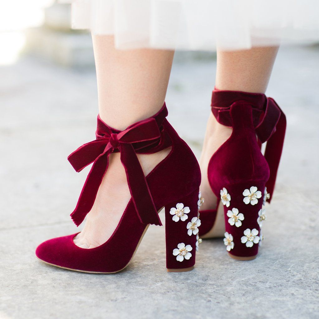 red block heels with flower decoration