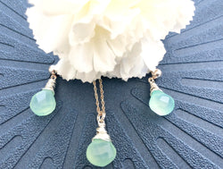 Sarah Walsh Aqua Chalcedony Earring and Necklace Set