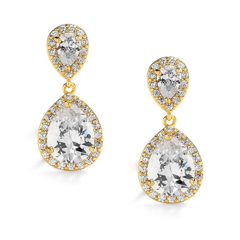 Gold Teardrop Clip-On Cubic Zirconia Wedding Earrings
