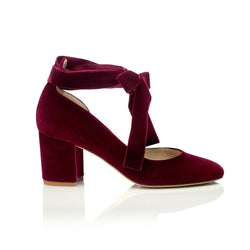 Hetty Mid Bordo Red Velvet Block Heel