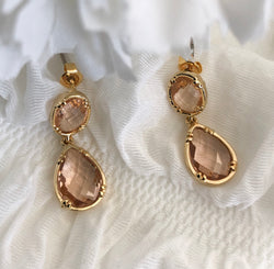 GOLDEN PEACH DUO DROP EARRINGS