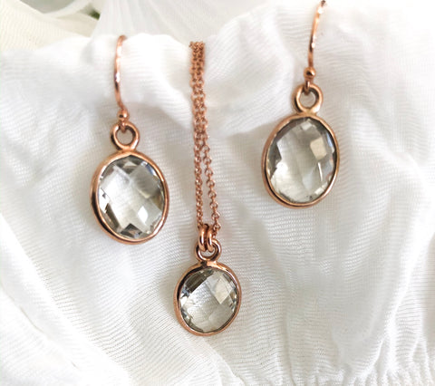 Sarah Walsh Clear Quartz Oval Set