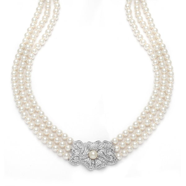 3-Row Pearl & Cubic Zirconia Vintage Wedding Necklace