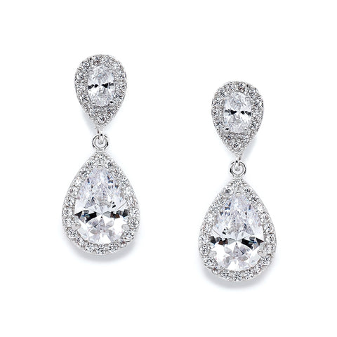 Lustrous Cubic Zirconia Teardrop Earrings