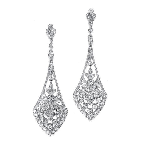 Dramatic Vintage Cubic Zirconia Earrings