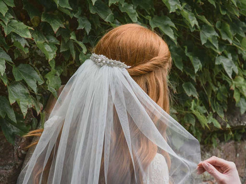 Hyacinth - Raw Edge Waist Length Veil