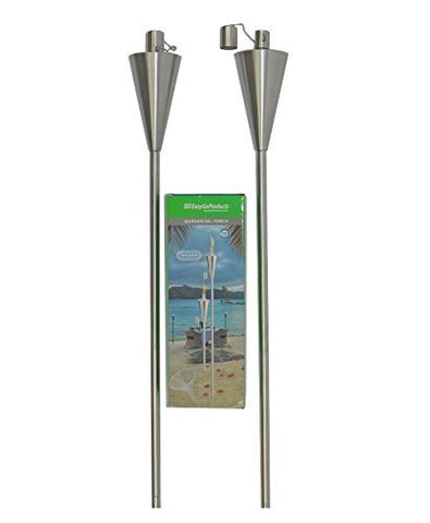 "EasyGo Patio Torch Outdoor Garden Oil Lamp Lanterns with Decorative Stainless Steel Canister and Stand Stake – 45 Inches Tall Each – Thick, 7.5"" Long Lasting Fiberglass Wick – Strong Flame"