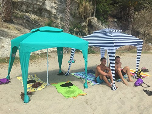 EasyGo Cabana -Beach & Sports Cabana keeps you Cool and Comfortable. Easy Set-up and Take Down. Large Shade Area. More Elegant & Classier than Beach Umbrella (Navy and White Striped)