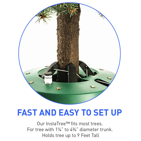 "InstaTree Large Fast & Easy Christmas Tree Stand - Holds tree up to 9 Feet Tall with 1.25"" to 4.25"" Diameter Trunk - Easy Foot Lever Operation Grip"