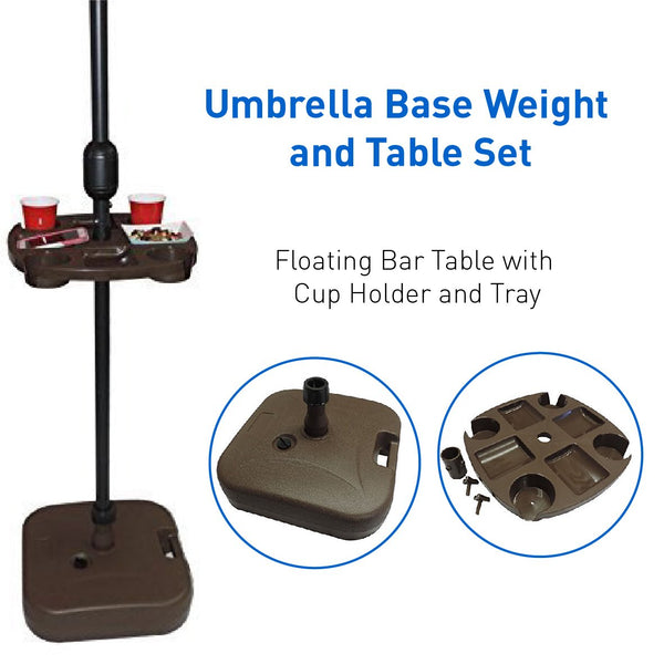 EasyGoProducts Umbrella Base Weight and Table Set, Plastic Universal Weighted Stand Water or Sand Weighted Stand, Floating Bar Table with Cup Holder and Tray, 21 Ltr Capacity, Brown