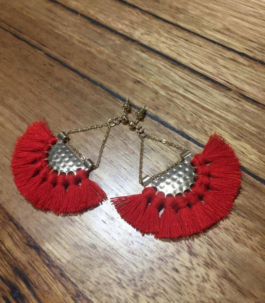 Sasha Fringe Earring - Red - MW Boutique