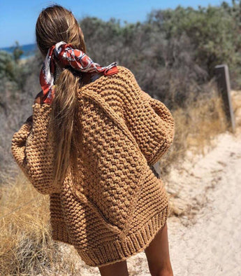 Chunky Cardigan Camel - MW Boutique