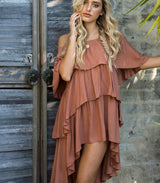 Santana Off Shoulder Dress - Terracotta