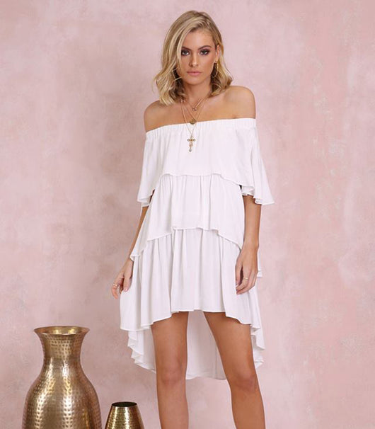 Santana Off Shoulder Dress - White - MW Boutique